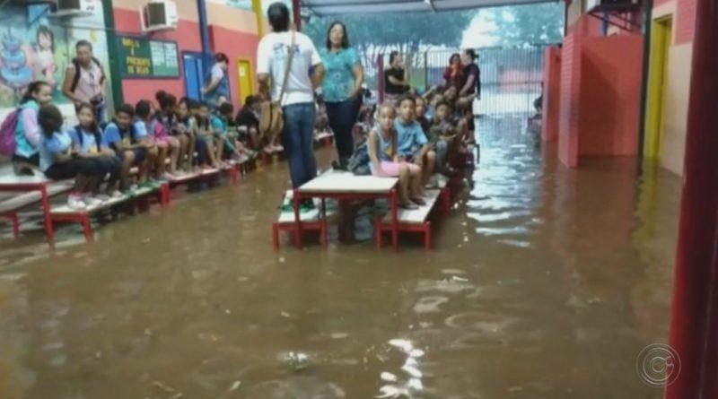 Alunos sobem em mesas para escapar de alagamento em escola de Promissão