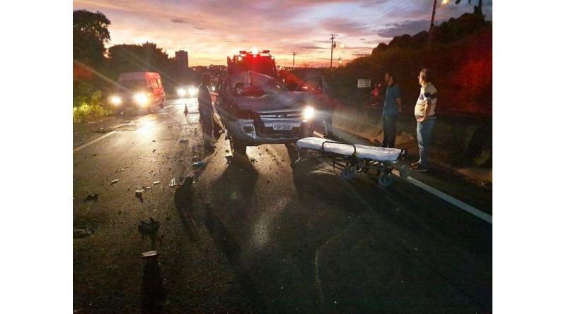 Motorista de caminhonete fica ferido em acidente na rodovia do Contorno em Marília