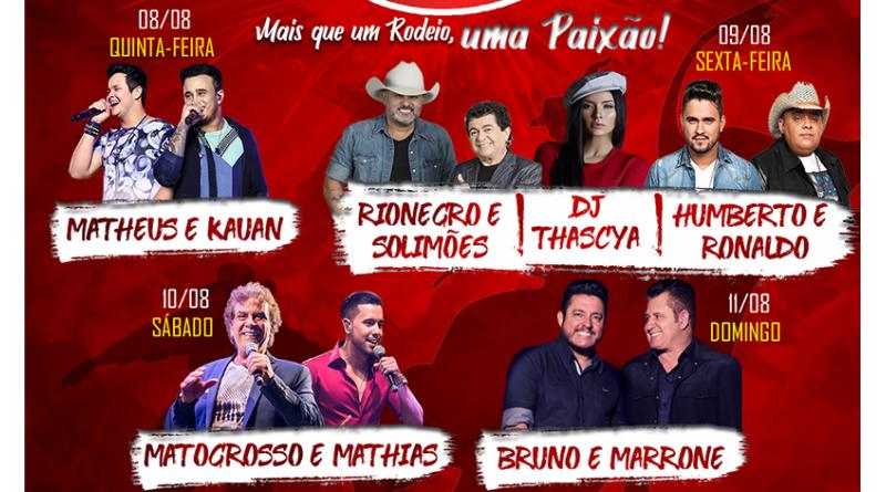 Rodeio 'Gigante Vermelho' anuncia 'mega' grade de shows e estrutura para 15 mil pessoas