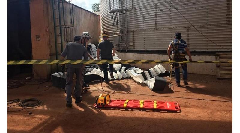 Funcionário é resgatado depois de ficar prensado em silo a mais de 30 metros de altura em Florínea
