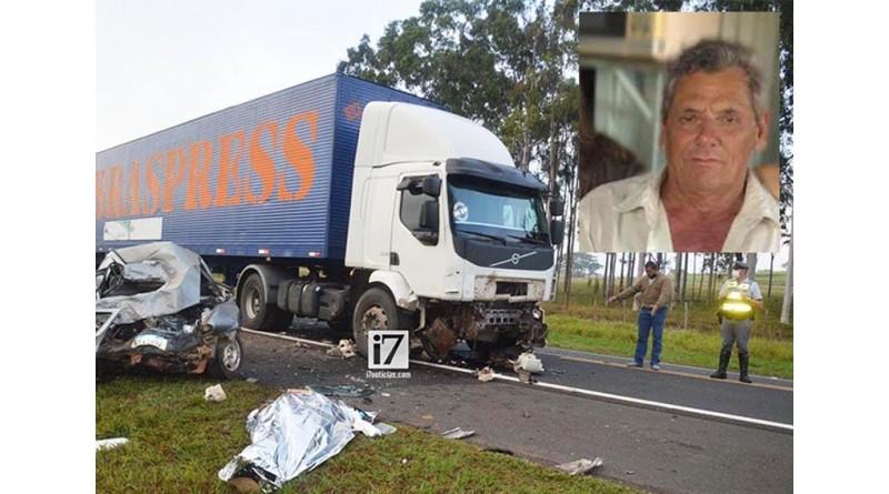 Idoso morre após acidente entre carro e caminhão na SP-421 em Oscar Bressane